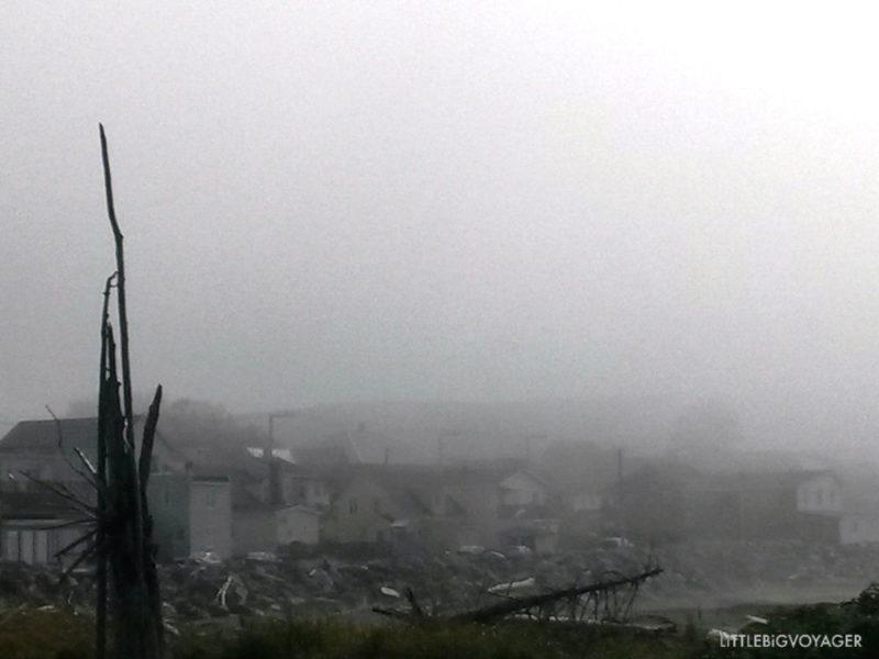 Nebelschwaden am Hafen von St Anne des Monts